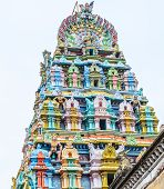 picture of tamil  - exquisite colorful sculpture on tower Jambkeshwara Temple Tiruchirapalli Tamil Nadu India Asia - JPG