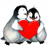 picture of congratulation  - fluffy penguin and red heart - JPG
