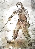 picture of pirate sword  - Drawing of a young pirate swordsman with a sword and dagger standing on the ground - JPG