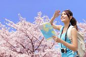 stock photo of sakura  - Happy travel woman look map and smile with sakura cherry blossoms tree on vacation while spring asian - JPG