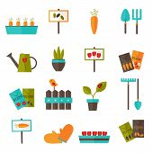 foto of water bug  - Illustration of Gardening set icons over white - JPG