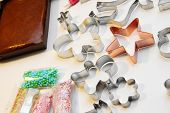 stock photo of food preparation tools equipment  - different gingerbread preparation items on the table - JPG