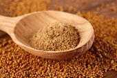 picture of mustard seeds  - Mustard powder in wooden spoon on mustard seeds - JPG