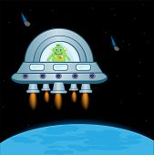 image of spaceships  - Extraterrestrial spaceship in cosmos beside planets - JPG