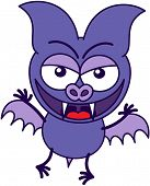 picture of maliciousness  - Purple bat in minimalistic style with bulging eyes - JPG