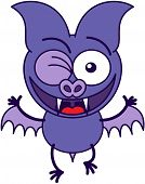 stock photo of enthusiastic  - Purple bat in minimalistic style - JPG