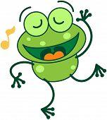 foto of cute frog  - Cute green frog with long legs while closing its bulging eyes - JPG