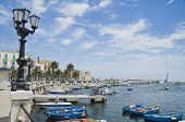 Panoramic view of Bari seafront. Apulia.
