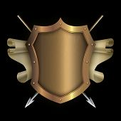 pic of spears  - Gold riveted shield with scroll of parchment and two spears on black background for the design - JPG