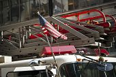 pic of fire truck  - american flag on a fire department truck - JPG