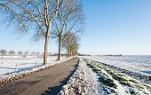 Постер, плакат: Country Road In An Agricultural Winter Landscape