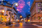 stock photo of firework display  - New Year firework display in Zakopane - JPG