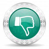 stock photo of dislike  - dislike green icon - JPG
