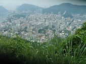 stock photo of smog  - small town taken from the top of the mountain is buried in the smog - JPG