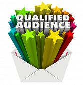 foto of clientele  - Qualified Audience words in an envelope to illustrate targeted marketing to customers and prospects who are the right pool of people for your products - JPG
