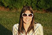 Girl Wearing Sunglasses poster