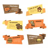 picture of veterinary clinic  - Veterinary paper banner set with pets treatment clinic accessories isolated vector illustration - JPG