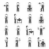 foto of waiter  - Waiter man with dish tray menu icon black set isolated vector illustration - JPG