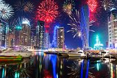 stock photo of firework display  - New Year fireworks display in Dubai - JPG