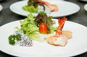 pic of tiger prawn  - Tiger shrimp prawns with fresh lettuce in plate - JPG