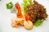 image of tiger prawn  - Tiger shrimp prawns with fresh lettuce in plate - JPG
