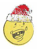 image of sad christmas  - Illustration of christmas cartoon face emotions on white - JPG