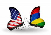 picture of mauritius  - Two butterflies with flags on wings as symbol of relations USA and Mauritius - JPG