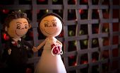 picture of cake-ball  - Wedding Cake Figurine formed by the bride and groom for the wedding cake - JPG