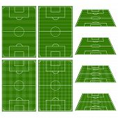stock photo of offside  - Set of Football Fields with Vertical and Horizontal Patterns - JPG