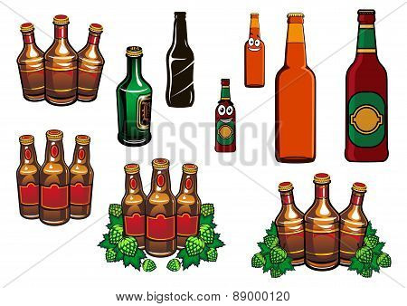 Cartoon glass beer bottles with blank labels