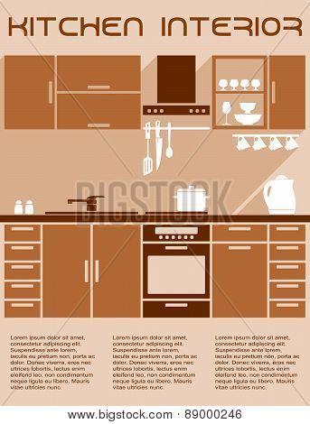 Brown and beige kitchen interior design in flat style