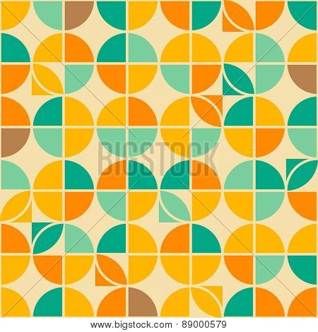 Retro abstract geometric circle seamless pattern