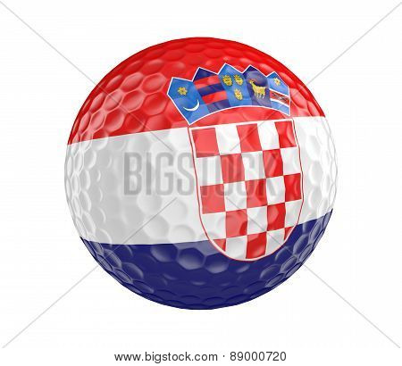 Golf ball 3D render with flag of Croatia, isolated on white