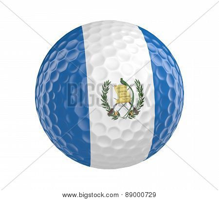 Golf ball 3D render with flag of Guatemala, isolated on white