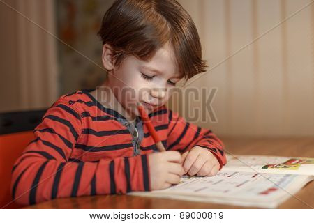 Little Boy Write Math Homework