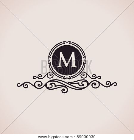 Luxury logo. Calligraphic pattern elegant decor elements. Vintage vector ornament M
