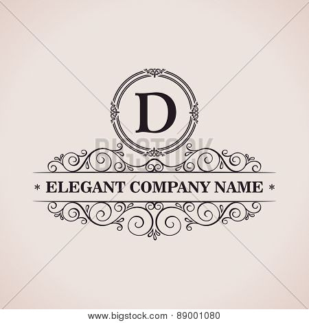 Luxury logo. Calligraphic pattern elegant decor elements. Vintage vector ornament D