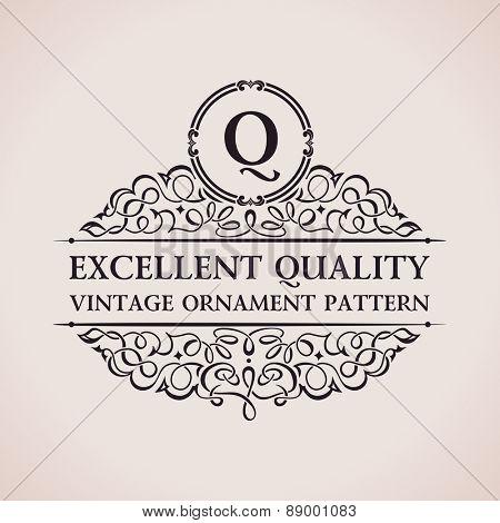 Luxury logo. Calligraphic pattern elegant decor elements. Vintage vector ornament Q