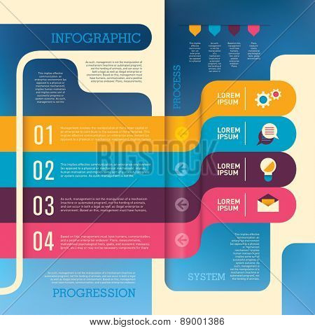 Info graphic with elements in color. Vector illustration.