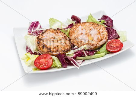 Chicken Burger Over Salad