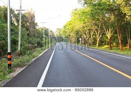 Empty Of Asphalt Road In The Countryside Of Thailand