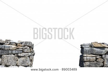Two Segments Of Old Stone Wall