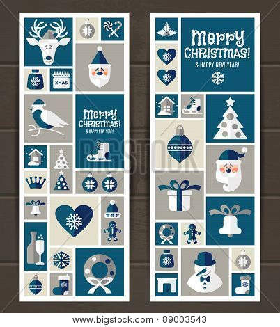 Vector set of icons on wooden.