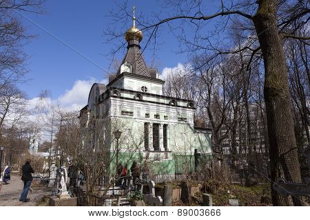ST. PETERSBURG, RUSSIA - APRIL 25, 2015: Photo of Chapel of the Blessed Xenia of the Smolensk cemete