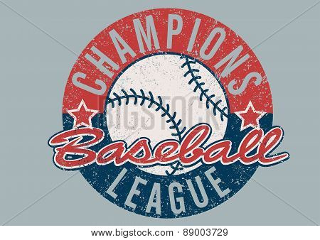 Baseball Champions League Distressed Print
