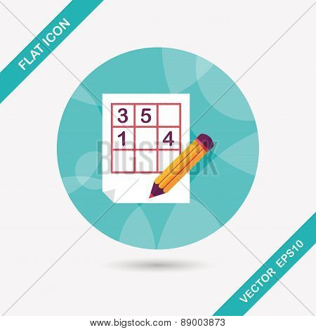 Sudoku Flat Icon With Long Shadow,eps10