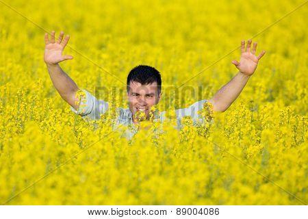 Man In Rapeseed Field