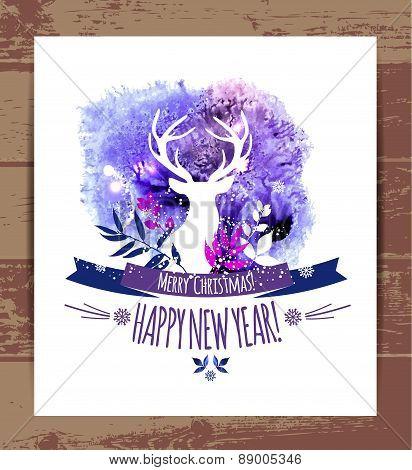 Deers christmas illustration