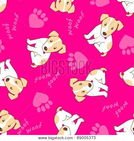 Cute Puppy Dog With Paw Hearts Seamless Pattern