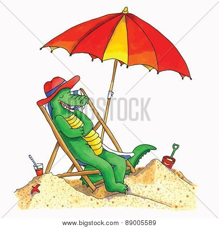 Hand drawn funny crocodile relaxing at the beach